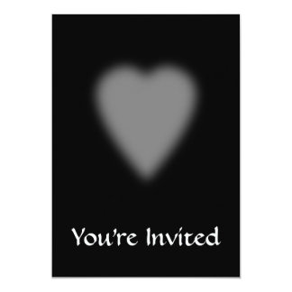 """Negro con el corazón brumoso invitación 5"""" x 7"""""""