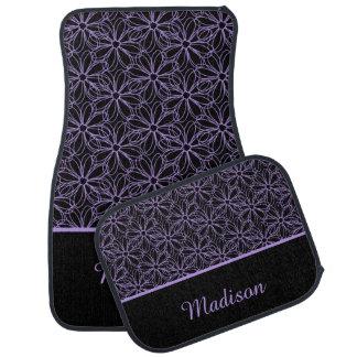 Negro con el monograma bosquejado púrpura de las alfombrilla de auto