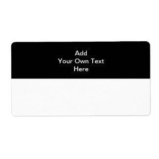 Negro con el texto blanco del área y del personali etiquetas de envío