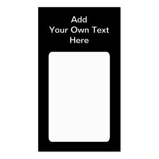 Negro con el texto blanco del área y del tarjetas de visita