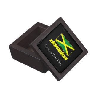 Negro con la bandera de Jamaica Caja De Joyas De Calidad