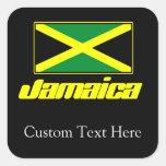 Negro con la bandera de Jamaica Calcomanía Cuadrada