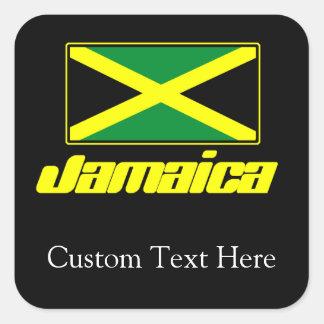 Negro con la bandera de Jamaica Pegatina Cuadrada