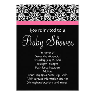 Negro con la fiesta de bienvenida al bebé rosada d invitación