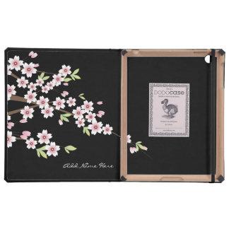 Negro con la flor de cerezo rosada iPad coberturas