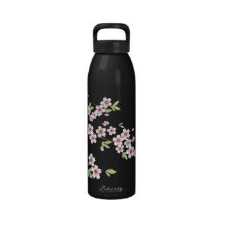 Negro con la flor de cerezo rosada y verde Sakura Botallas De Agua