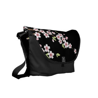Negro con la flor de cerezo rosada y verde Sakura Bolsas De Mensajería