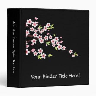 """Negro con la flor de cerezo rosada y verde Sakura Carpeta 1 1/2"""""""