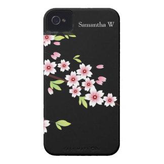 Negro con la flor de cerezo rosada y verde Sakura iPhone 4 Case-Mate Carcasa