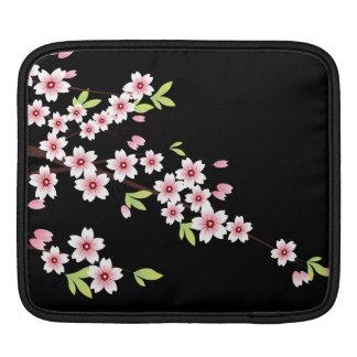 Negro con la flor de cerezo rosada y verde Sakura Manga De iPad