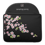 Negro con la flor de cerezo rosada y verde Sakura Funda Macbook Pro