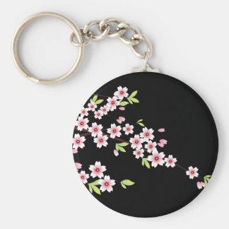 Negro con la flor de cerezo rosada y verde Sakura Llaveros