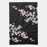 Negro con la flor de cerezo rosada y verde Sakura Toalla
