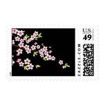 Negro con la flor de cerezo rosada y verde Sakura Sello