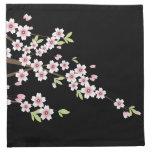 Negro con la flor de cerezo rosada y verde Sakura Servilleta