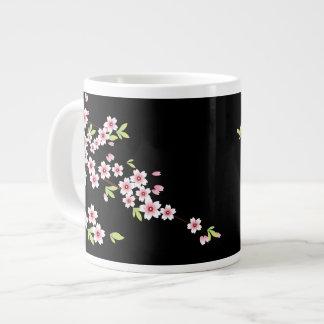 Negro con la flor de cerezo rosada y verde Sakura Taza Grande