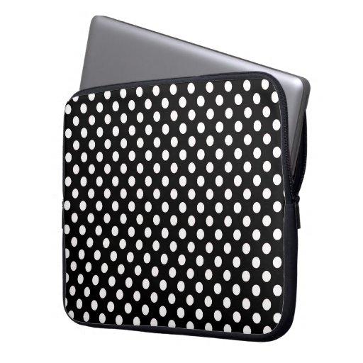 Negro con la manga blanca del ordenador portátil d funda computadora