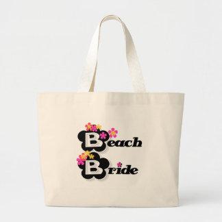 Negro con la novia de la playa de las flores bolsas