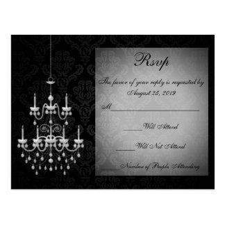 Negro con la silueta blanca de la lámpara tarjetas postales