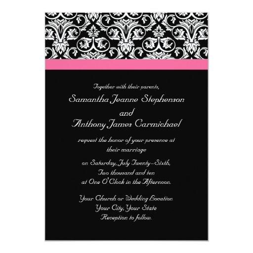 """Negro con las invitaciones rosadas del boda de la invitación 5"""" x 7"""""""