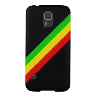 Negro con las rayas diagonales de Rasta Funda Galaxy S5