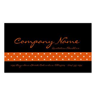 Negro con las tarjetas de visita punteadas naranja