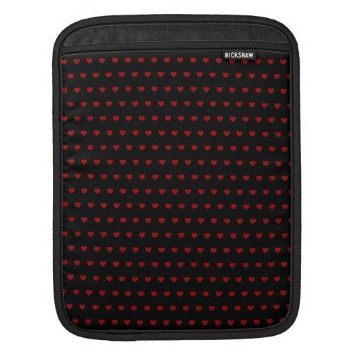 Negro con los corazones rojos - manga del iPad Funda Para iPads