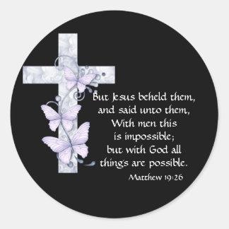 Negro con los pegatinas azules de la cruz y de las pegatina redonda