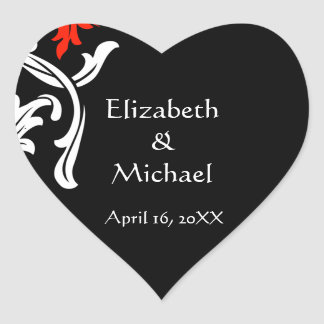 Negro con los sellos blancos del sobre del boda de calcomanías de corazones personalizadas