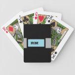 Negro con monograma baraja cartas de poker