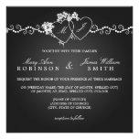 Negro con monograma de los corazones del boda eleg anuncio personalizado