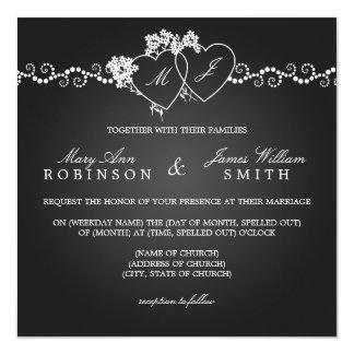 """Negro con monograma de los corazones del boda invitación 5.25"""" x 5.25"""""""