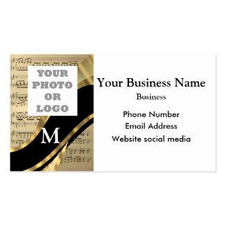 Negro con monograma, logotipo de la compañía de la tarjetas de visita