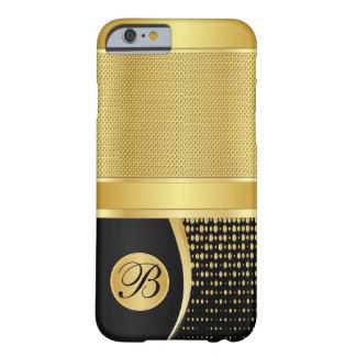 Negro con monograma y malla metálica del oro funda de iPhone 6 barely there