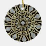 Negro con oro y la estrella del navidad del brillo ornamento de reyes magos