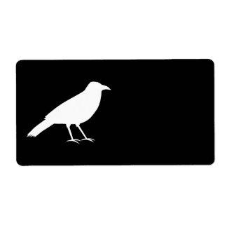 Negro con un cuervo blanco etiquetas de envío