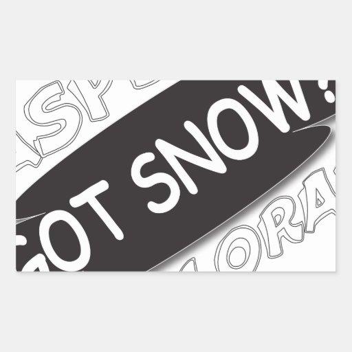 Negro conseguido de la nieve pegatina rectangular