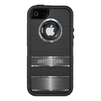 Negro contemporáneo y de plata personalizada funda OtterBox defender para iPhone 5