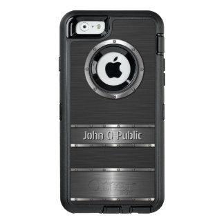 Negro contemporáneo y de plata personalizada funda OtterBox defender para iPhone 6