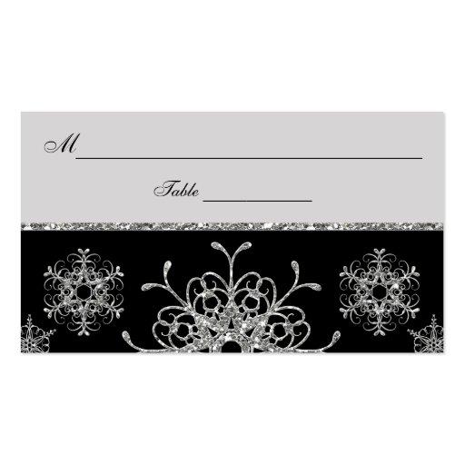 Negro, copos de nieve Placecards de la MIRADA del  Tarjeta De Visita