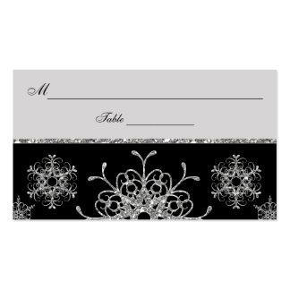 Negro, copos de nieve Placecards de la MIRADA del Tarjetas De Visita