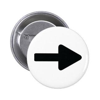 negro correcto del icono de la flecha pin redondo de 2 pulgadas