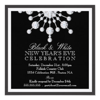 Negro cristalino elegante y blanco de Noche Vieja Invitación 13,3 Cm X 13,3cm