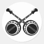 negro cruzado de los banjos pegatina redonda