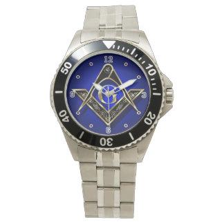 Negro cuadrado y oro de los compases de McKim Relojes De Pulsera