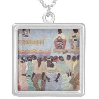 Negro Dance Square Pendant Necklace