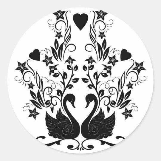 Negro de 2 cisnes pegatina redonda