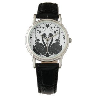 Negro de 2 cisnes relojes de pulsera