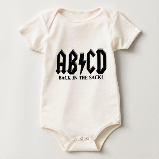 Negro de ABCD en el saco Mameluco De Bebé