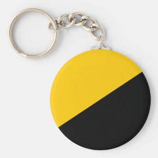 Negro de Anarcho y amarillo capitalistas Llavero Redondo Tipo Pin